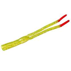Yum Boogee Tail 4'' Chartreuse Silver Flake Red 20 pcs
