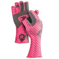Fish Monkey Half Finger Guide Glove Pink Scales L
